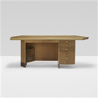 desk with wastebasket from price tower, bartlesville, oklahoma by frank lloyd wright
