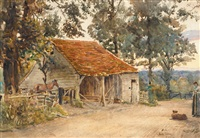 by the old barn at day's end by joseph poole addey