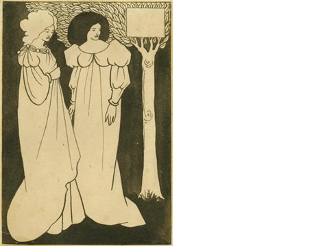 two fin de siècle women in flowing dresses against a black background standing by a tree by aubrey vincent beardsley