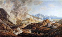 extensive coastal mountain landscape with figures watching volcanic eruption by edward dodwell