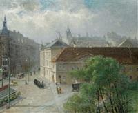 blick auf die mariahilferstraße, ecke messepalast/rahlstiege by hermine lang-laris