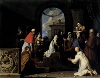 the holy family with a donor, receiving saints including catherine of siena, blaise, francis of assisi, carlo borromeo and apollonia by pieter lastman