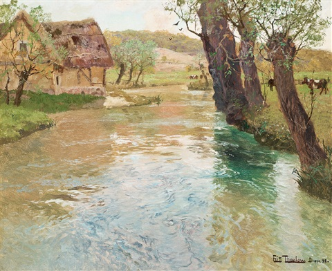 river landscape arques dieppe by frits thaulow
