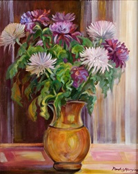 crysanthemums in white and mauves by pauline merry