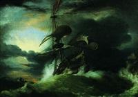 navire sur une mer agitée by george philip reinagle