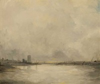river landscape - possibly a view of dublin by leo earley