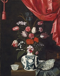 tulips, carnations and other flowers in a chinese porcelain vase by jean-michel picart