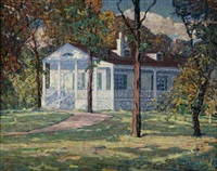 house in the afternoon shadows by ernest bruce nelson