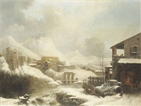 a frozen, mountainous winter landscape, with a forge in the foreground by jules cesar denis van loo