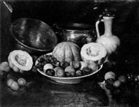 assiette de fruits, melons, pichet et cuivres by henry r. rittenberg
