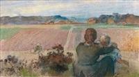 une mère et son enfant contemplant les champs, un village au loin by auguste louis lepère