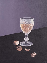 still life - glass and nuts by virgilio raposo