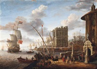 a capriccio of a mediterranean harbour with the temple of vesta and a triumphal arch by jacobus storck
