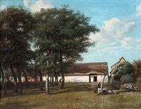 summer day at a danish thatched farmhouse by david monies