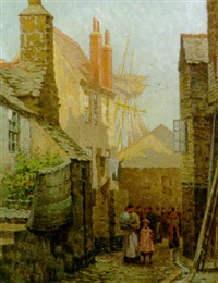 figures in a street, st. ives by arthur white