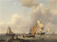 dutch flatboats, a brigantine and a barque on the zuiderzee by hermanus willem koekkoek