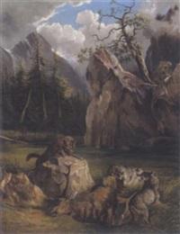 wölfe bei einem verendenden hirsch im schneeeberggebiet by f. reichardt