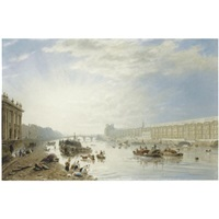 the seine, looking towards the louvre and the pont royal by frederick nash