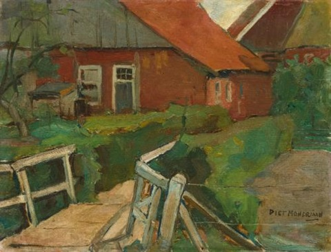 farm building with bridge by piet mondrian