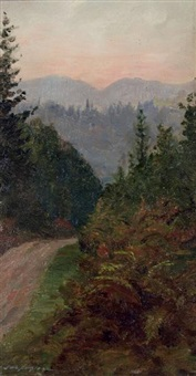 mountain path at dusk by john wycliffe lewis forster