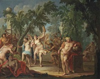 a bacchanal in a wooded landscape with nymphs dancing and satyrs blowing horns by johann heinrich keller