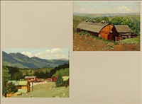 late afternoon, plains, colo (+ rural town scene; 2 works, 1 sgd.) by ferdinand kaufmann