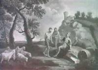 figure presso ruderi con fon- taonella; figure con pastore che mostra il suo gregge by egidio colonna