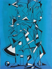 abstraction sur fond bleu by rené portocarrero