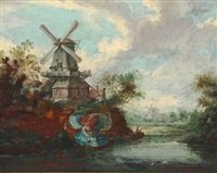 landscapes with mills and castle ruin at a river (pair) by anthony jansz van der croos