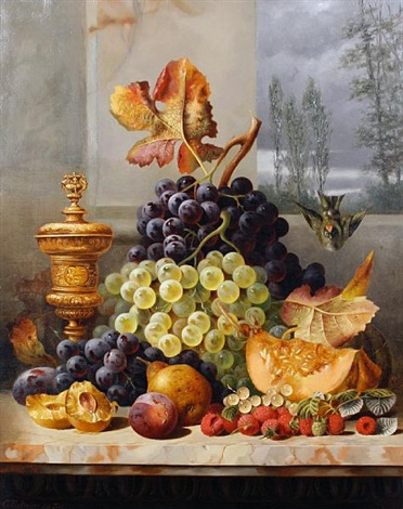 still life of fruit on a marble ledge by charles e baskett
