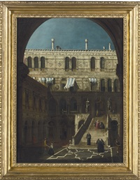 the scala dei giganti at the doge's palace, venice by canaletto