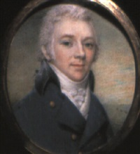 portrait of a gentleman in blue coat with black collar by charles hayter