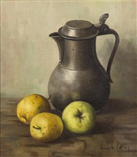 still life with pitcher and apples by henk bos