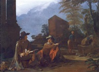 artists resting by a fountain by michael sweerts
