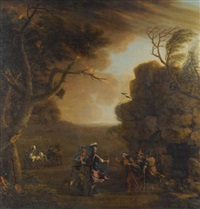 macbeth and banquo with the three witches by john wootton