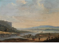 a coastal inlet with figures loading barges, a town in the distance by johannes huibert (hendric) prins