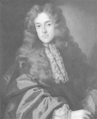 portrait of a gentleman (john wilmot, 2nd earl of rochester?), in full wig, lace stock and brown coat by john greenhill