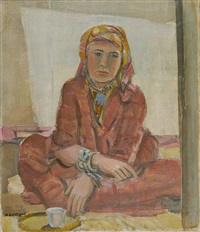 meriem - jeune fille assise by maurice barraud