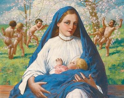 madonna mit kind unter blühenden zweigen by eduard ansen hofmann