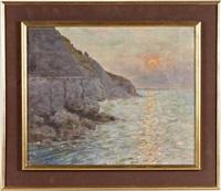 falaise au crépuscule by maurice françois auguste courant