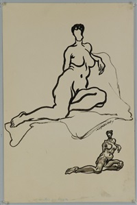 untitled (two female nudes) by joseph delaney