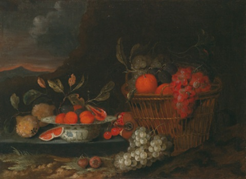 stilleben mit früchten in einer wan li krak porzellan schale und in einem korb in einer gebirgigen landschaft by jan pauwel gillemans the younger