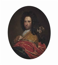 portrait of a gentleman, half-length, in an ochre and red wrap by giovanni maria delle piane