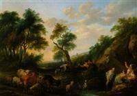 badende mädchen in einer waldlandschaft von zwei jungen hirten überrascht by frans xaverius xavery