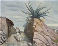 mujer y maguey (en el valle de mexico) by raúl anguiano