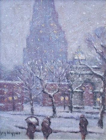 evening, washington square in winter by guy carleton wiggins