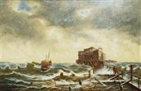 fishing boat in stormy seas by johann baptist weiss
