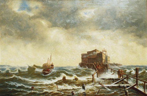 fishing boat in stormy seas by johann baptist weiss