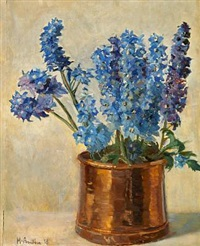 larkspur in a copper pot by helga ancher