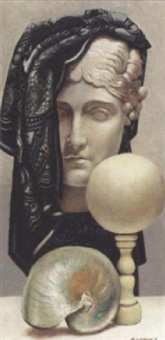 still life with marble bust and shell by martin battersby